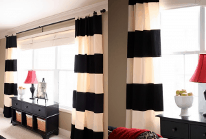 endearing-big-white-bay-window-design-with-remarkable-soft-black-white-curtain-decor-even-sweet-red-shade-lamp-idea