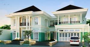 rumah eropa dengan gradasi warna
