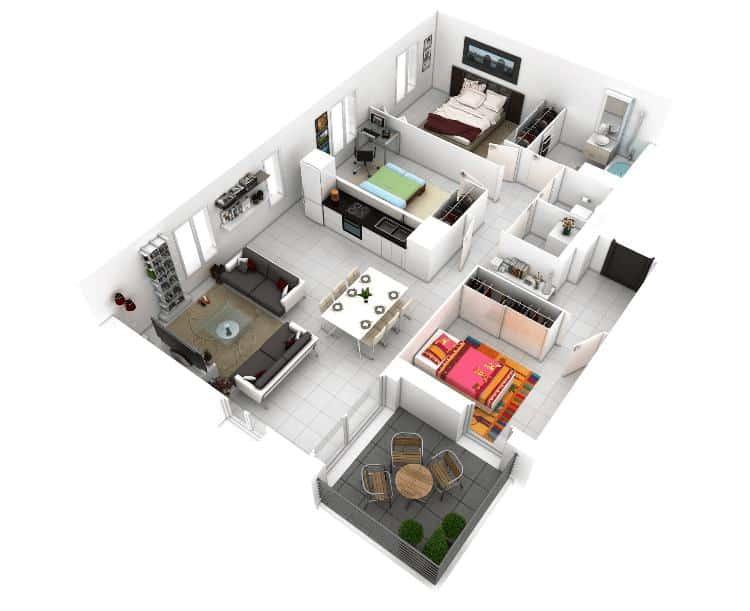 Denah rumah minimalis 3 kamar dengan 2 kamar tidur anak dan 1 kamar utama. Foto: amazingarchitecture.net
