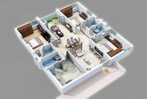 contoh-denah-rumah-3-kamar-tidur-ukuran-6x12-1 - rumahlia