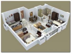Denah Rumah Minimalis 3 Kamar 3d 4 Rumahlia Com