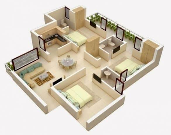 Denah rumah minimalis 3 kamar. Foto: livetherehere.blogspot.com